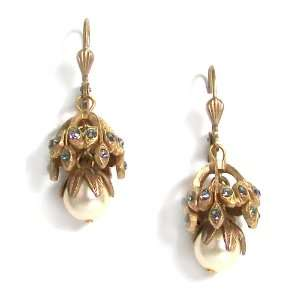 Crystal And Pearl Flower Drop Earrings Catherine Popesco Jewelry