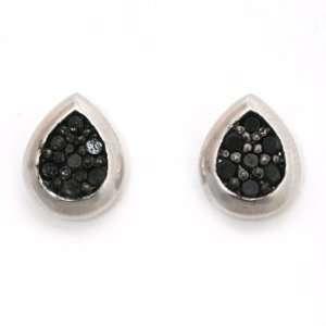 Sterling Silver Black Cubic Zirconia Earrings Jewelry