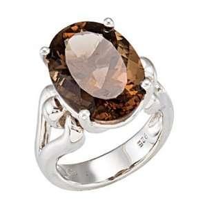 Silver Smoky Quartz Ring   18 x 13 mm Gem GEMaffair Jewelry