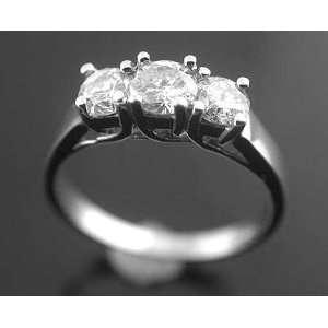 00 Carat Round Cut 3 Stone Diamond Ring in 14 Karat Solid White Gold
