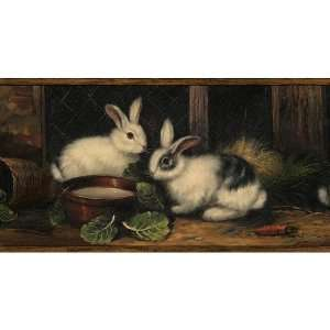 Brown Country Rabbits Wallpaper Border: Baby