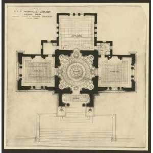Field Memorial Library,floor plan,Conway,MA,c1900