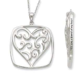 You Are a Friend, Framed Heart Necklace in Silver Jewelry