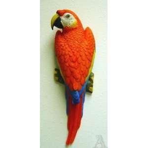 Hawaiian Red Parrot Macaw Bird Wall Art Statue Sculpture