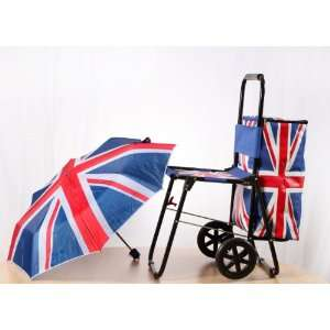 Olympic Union Jack Shopping Cart Trolley with Seat Chair