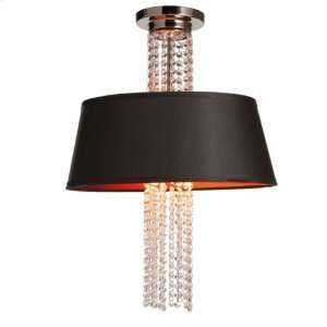 Clear Crystal Pendant Lamp With Red Lined Black Shade Steel and Glass