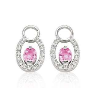 14k White Gold Oval Pink Sapphire Diamond Earring Charms Jewelry