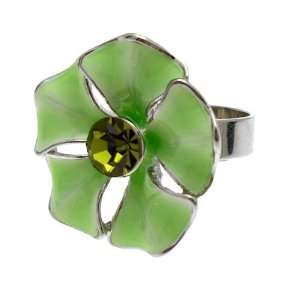 Green Glossy Enamel & Crystal   Adjustable Fashion Flower Ring