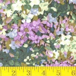 45 Wide Abstract Flower Purple/ Green Fabric By The Yard