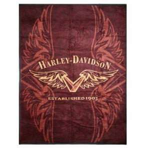 Biederlack Harley Davidson V Wing Blanket Throw 60 x 80
