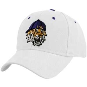 of the World LSU Tigers White Mascot Head 1Fit Hat Sports & Outdoors