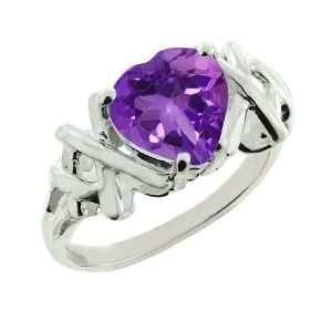 1.00 Ct Amethyst Sterling Silver Heart Shape Ring 7mm Jewelry