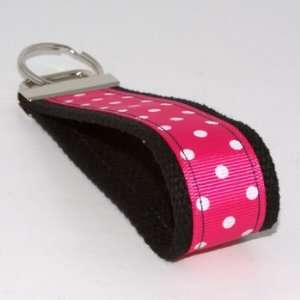 Hot Pink White Dots 5   Black   Fabric Keychain Key Fob Ring Wristlet