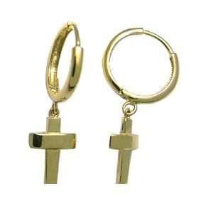 Dangling Solid Cross 14K Yellow Gold Huggie Earrings Jewelry