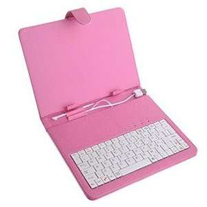 pink Leather Case with Standard USB 2.0 Keyboard and Kick