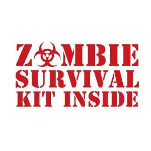 Zombie Survival Kit Inside   Decal / Sticker Sports