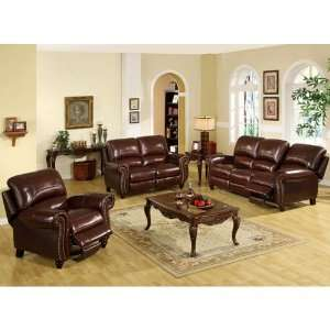 Pushback Reclining Leather Sofa, Loveseat and Chair