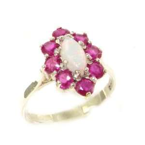 Luxury Ladies Solid White Gold Natural Opal & Ruby Marquise Cluster