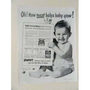 Swifts Meats for Babies. 40s full page print ad. (Oh how meat helps