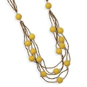 inch Layered Multistrand Wood and Glass Bead Fashion Necklace Jewelry