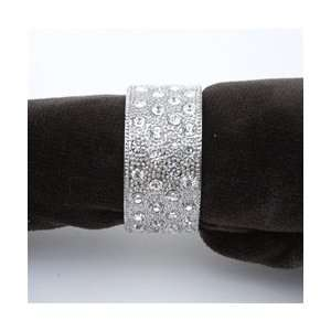 Crystals on Platinum Round Band Napkin Rings, Set/4