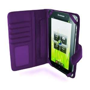 MiTAB Purple Leather Flip Open 7 Inch Book Style Carry