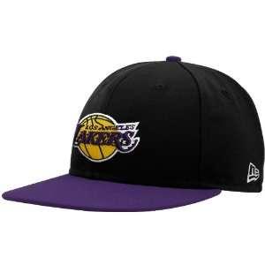 NBA New Era Los Angeles Lakers Black Purple Primary Logo 59FIFTY Flat