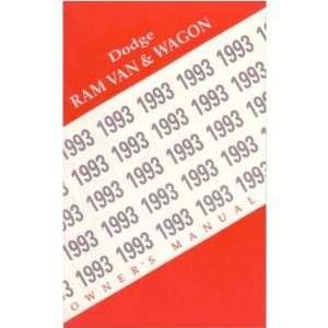 1993 DODGE RAM VAN Owners Manual User Guide Automotive