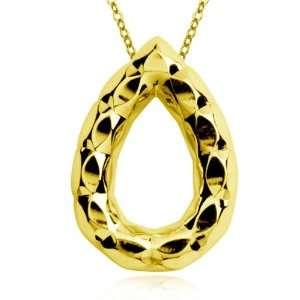 Plated Sterling Silver Diamond Cut Pear Shape Pendant, 18 Jewelry