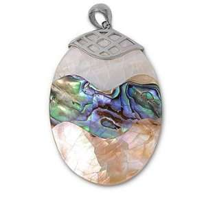 Rhodium Plated Brass Three Layered Oval Shell Abalone Pendant Jewelry