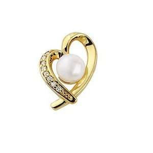 .00Mm .08Cttw Cultured Akoya Pearl And Diamond Heart Pendant Jewelry