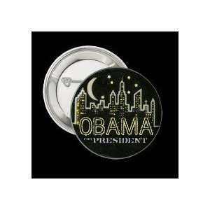 Obama City at Night Button PIN PINBACK