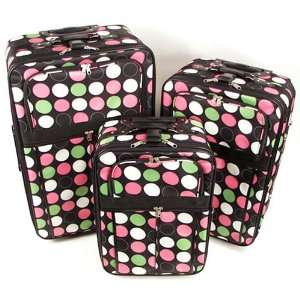 3 PIECE LUGGAGE SET WITH BLACK WHITE PINK GREEN POLKA DOTS