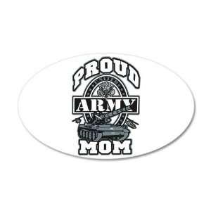 22x14 Oval Wall Vinyl Sticker Proud Army Mom Tank