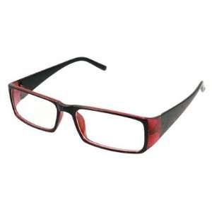 Red Black Frame Full Rim Rectangle Lens Plano Glasses Sports