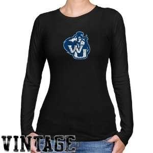 Washburn Ichabods Ladies Black Distressed Logo Vintage Long Sleeve