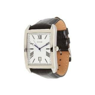 Steel Case, Silver Dial, Black Leather Strap Watch Guess Watches