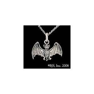 Silver Bat Pendant, 24 Long Rhodium Plated Chain, Vampire Bat Jewelry