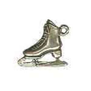 .925 Sterling Silver Ice Skate Charm   3 D