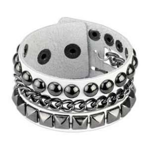 White Genuine Leather Bracelet with Pyramid & Studs with Chain Links