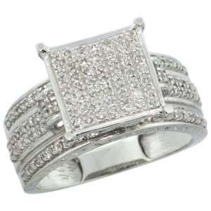 14k White Gold Square Diamond Ring w/ 0.42 Carat Brilliant