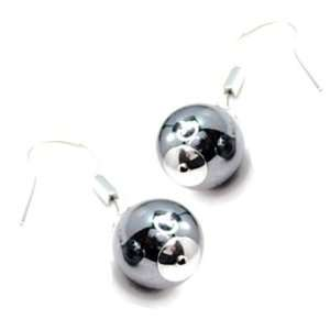 Sophisticated stainless steel and hematite earrings in drop orb design