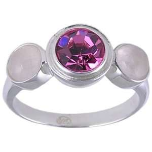 Three Stone Pink Swiss Crystal .925 Sterling Silver Ring