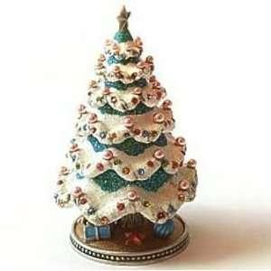 Tree Box Swarovski Crystals Green Jewelry, Trinket or Pill Box