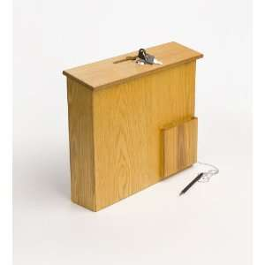 Wood Wall Mounting Suggestion Box With Locking Hinged Lid, Pocket and