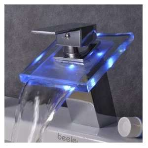 Color Changing LED Waterfall Bathroom Sink Faucet (Chrome