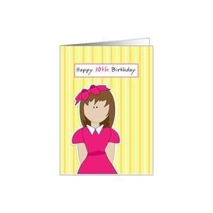 Tenth Birthday, 10th Birthday, Girl, Pink, Bow Card Toys