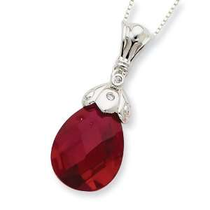Sterling Silver Dark Red CZ Tear Drop Necklace Vishal