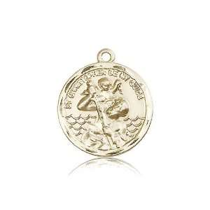 14kt Gold St. Saint Christopher Medal 1 x 7/8 Inches 0036CKT No Chain