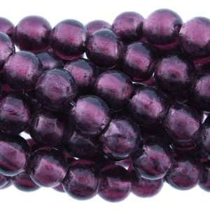 Beads   Silver Foil Glass   Dark Purple  Round Plain   8mm Diameter